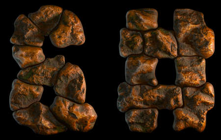 Set of rocky symbols ampersand and hash. Font of stone on black background. 3d rendering