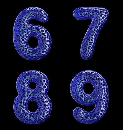 Number set 6, 7, 8, 9 made of blue plastic. Collection symbols of plastic with abstract holes isolated on black background 3d rendering Stock Photo