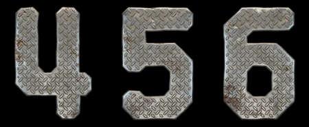 Set of numbers 4, 5, 6 made of industrial metal on black background 3d rendering