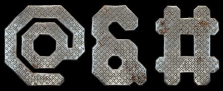 Set of symbols at, ampersand and hash made of industrial metal on black background 3d rendering Archivio Fotografico