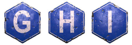 Set of public road signs in blue color with a capital white letter G, H, I in the center isolated on white background. 3d rendering