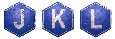 Set of public road signs in blue color with a capital white letter J, K, L in the center isolated on white background. 3d rendering