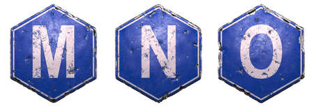 Set of public road signs in blue color with a capital white letter M, N, O in the center isolated on white background. 3d rendering