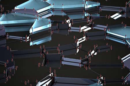 broken glass with sharp pieces over black background 3d rendering Imagens