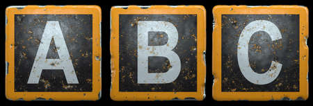 Public road sign orange and black color with a capital set of letters A, B, C in the center isolated on black background. 3d rendering