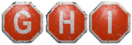 Set of letters G, H, I made of public road sign in red and white with a capital in the center isolated on white background. 3d rendering Stock Photo