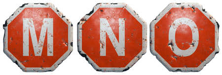 Set of letters M, N, O made of public road sign in red and white with a capital in the center isolated on white background. 3d rendering
