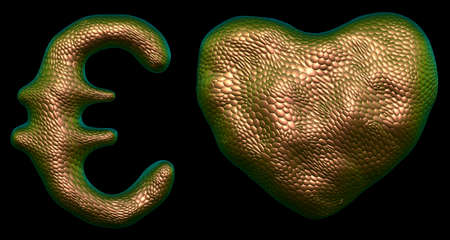 Symbol collection euro and heart made of 3d render gold color. Collection of natural snake skin texture style symbol isolated on black background Stock fotó