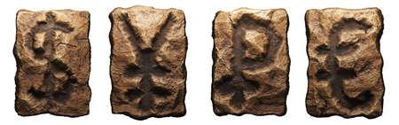 Set of rocky symbols dollar, yen, rouble, euro. Font of stone on white background. 3d rendering