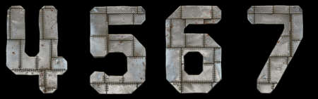Set of numbers 4, 5, 6, 7 made of industrial metal on black background 3d rendering
