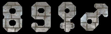 Set of numbers 8, 9 and symbols female, male made of industrial metal on black background 3d rendering