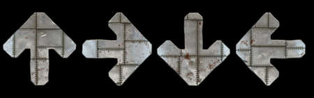 Set of symbols up arrow, left and right arrow, to down arrow made of industrial metal on black background 3d rendering