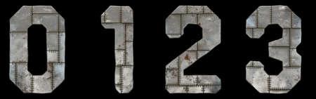 Set of numbers 0, 1, 2, 3 made of industrial metal on black background 3d rendering 版權商用圖片