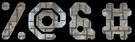 Set of symbols percent, at, ampersand and hash made of industrial metal on black background 3d rendering
