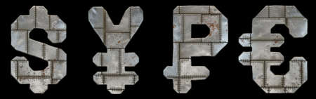 Set of symbols dollar, yen, rouble and euro made of industrial metal on black background 3d rendering 版權商用圖片
