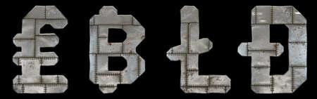 Set of symbols lira, bitcoin, litecoin and dashcoin made of industrial metal on black background 3d rendering 版權商用圖片