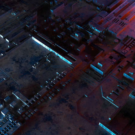 Abstract technological background made of different element printed circuit board and flares. 3d rendering Banco de Imagens
