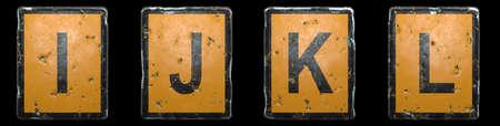 Set of capital letter I, J, K, L made of public road sign orange and black color on black background. 3d rendering