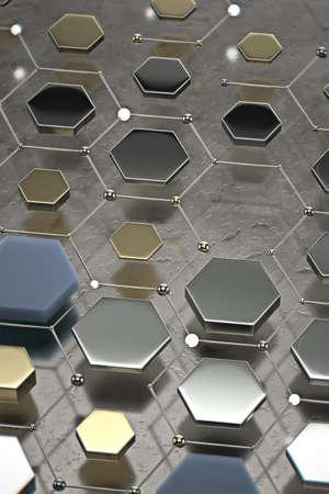 Abstract technological hexagonal background. 3d rendering 免版税图像