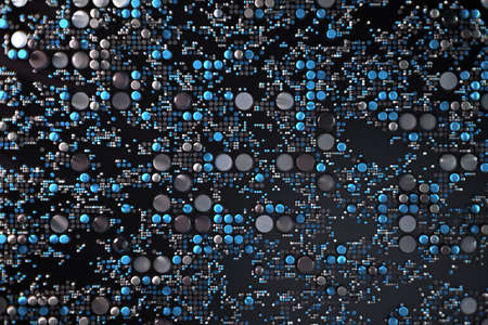 Data technology abstract futuristic illustration . Dots and lines on dark background. 3D rendering