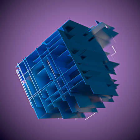 Cube made of blue plates on a purple background. 3d. Innovative impressive technologies 版權商用圖片