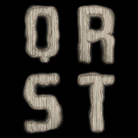 Set of industrial metal alphabet letters Q, R, S, T on black background. 3d rendering