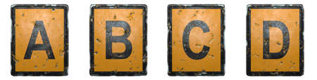 Set of capital letter A, B, C, D made of public road sign orange and black color on white background. 3d rendering 免版税图像