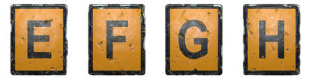 Set of capital letter E, F, G, H made of public road sign orange and black color on white background. 3d rendering 免版税图像