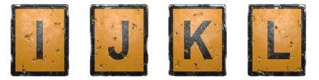 Set of capital letter I, J, K, L made of public road sign orange and black color on white background. 3d rendering 免版税图像