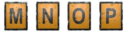 Set of capital letter M, N, O, P made of public road sign orange and black color on white background. 3d rendering