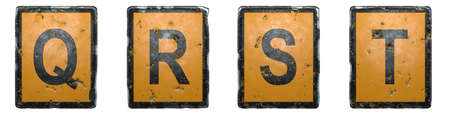 Set of capital letter Q, R, S, T made of public road sign orange and black color on white background. 3d rendering