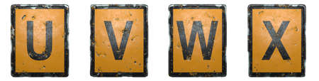 Set of capital letter U, V, W, X made of public road sign orange and black color on white background. 3d rendering