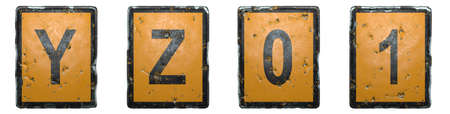 Set of capital letters Y, Z and numbers 0, 1 made of public road sign orange and black color on white background. 3d rendering