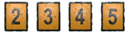 Set of numbers 2, 3, 4, 5 made of public road sign orange and black color on white background. 3d rendering