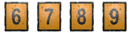 Set of numbers 6, 7, 8, 9 made of public road sign orange and black color on white background. 3d rendering