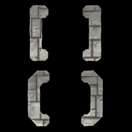 Set of symbols left and right square bracket, left and right perentheses made of industrial metal on black background 3d rendering Stockfoto