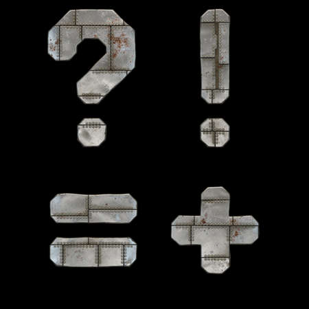 Set of symbols question mark, exclamation mark, equals, plus made of industrial metal on black background 3d rendering