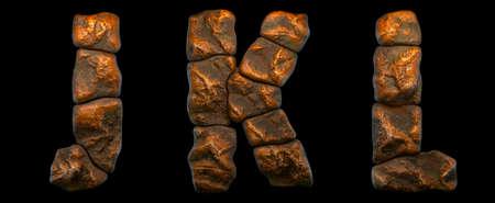 Set of rocky letters J, K, L. Font of stone on black background. 3d rendering Stock fotó