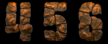 Set of rocky numbers 4, 5, 6. Font of stone on black background. 3d rendering