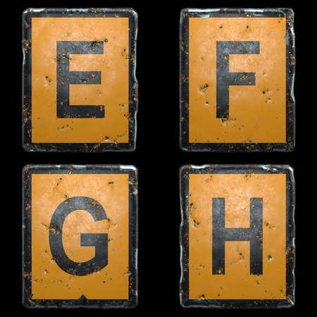 Set of capital letter E, F, G, H made of public road sign orange and black color on black background. 3d rendering