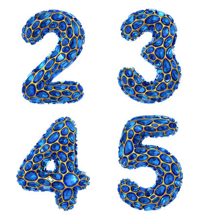 Number set 2, 3, 4, 5 made of 3d render diamond shards blue color. Collection of number isolated on white