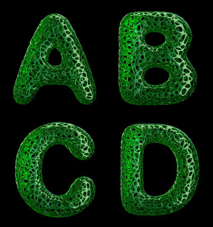 Realistic 3D letters set A, B, C, D made of green plastic. Collection symbols of plastic with abstract holes isolated on black background 3d rendering