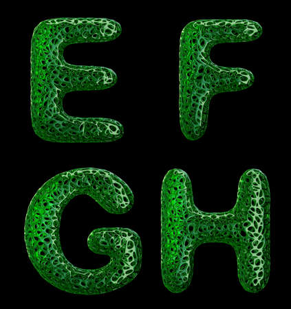 Realistic 3D letters set E, F, G, H made of green plastic. Collection symbols of plastic with abstract holes isolated on black background 3d rendering