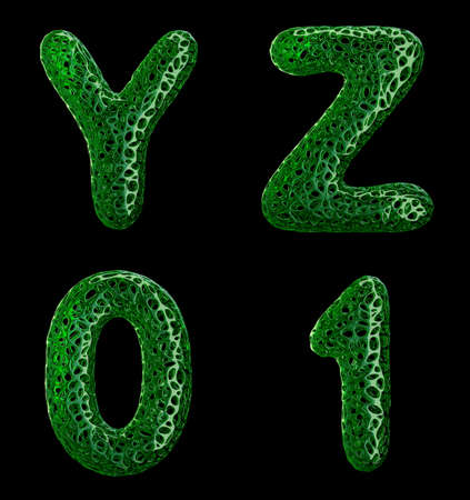 Realistic 3D letters set Y, Z, 0, 1 made of green plastic. Collection symbols of plastic with abstract holes isolated on black background 3d rendering
