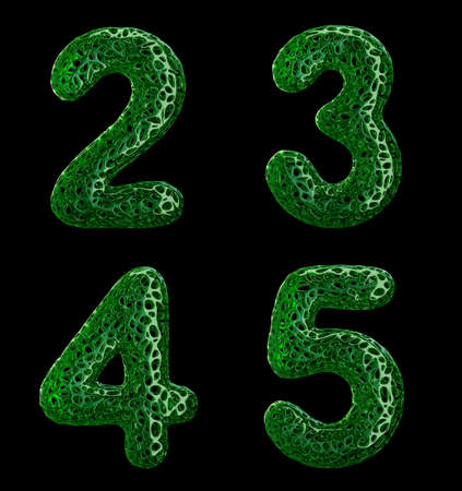Realistic 3D letters set 2, 3, 4, 5 made of green plastic. Collection symbols of plastic with abstract holes isolated on black background 3d rendering Stockfoto