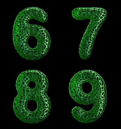 Realistic 3D letters set 6, 7, 8, 9 made of green plastic. Collection symbols of plastic with abstract holes isolated on black background 3d rendering
