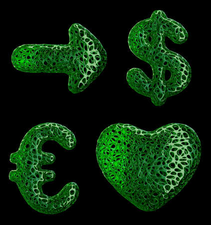 Symbol collection arrow, dollar, euro and heart made of green plastic. Collection symbols of plastic with abstract holes isolated on black background. 3d rendering