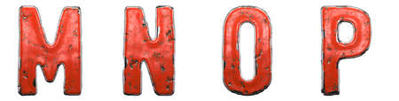 Set of letters M, N, O, P made of red painted metal isolated on white background. 3d rendering