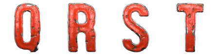 Set of letters Q, R, S, T made of red painted metal isolated on white background. 3d rendering