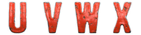 Set of letters U, V, W, X made of red painted metal isolated on white background. 3d rendering
